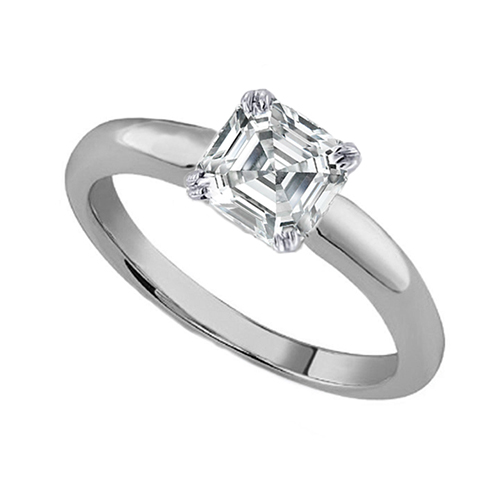 GIA Certified Diamond Solitaire Engagement Ring With a Asscher
