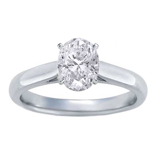GIA Certified Diamond Solitaire Engagement Ring With a Oval  Cut