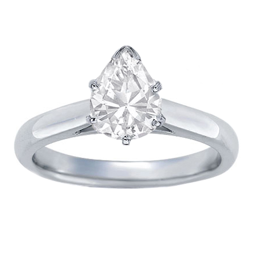 GIA Certified Diamond Solitaire Engagement Ring With a Pear  Cut