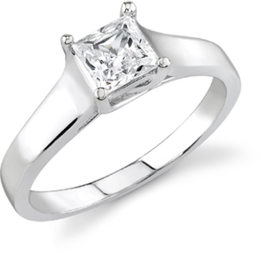 GIA Certified Diamond Solitaire Engagement Ring With a Princess