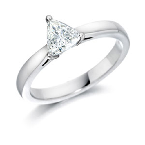 GIA Certified Diamond Solitaire Engagement Ring With a Trilliant